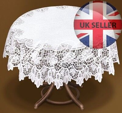 Tablecloth Round White Lace NEW Ø 100cm (39 ) Perfect Gift Polyester • 12.99£
