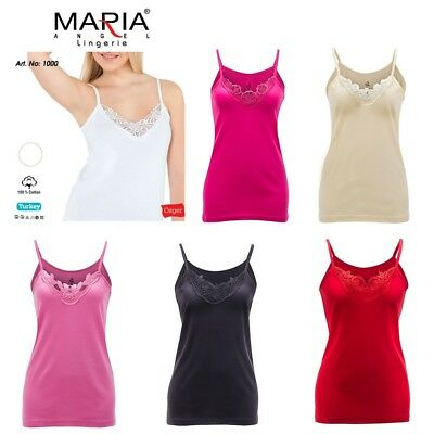 £3.75 • Buy Ladies Plain Camisole Cotton Vest Top Lace Trim Neck Design Cami Tank Strappy