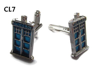 Steampunk Jewellery Cufflinks Silver Coloured Tardis Doctor Dr Who Timelord #CL7 • 7.50£