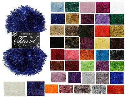 King Cole Tinsel Chunky Yarn / Wool 50g Balls - All Colours - Free Postage • 2.99£
