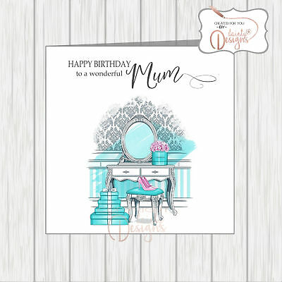 Glamorous Tiffany Gift Boxes & Dressing Table Birthday Card Mum Aunt Daughter... • 3.25£