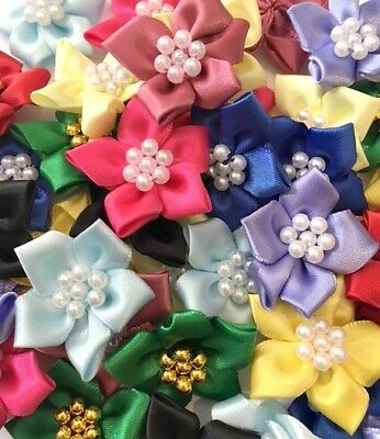 Quality Satin Ribbon Poinsettias Flowers 4cm Mixed Colours Sewing Crafts Cards • 1.99£