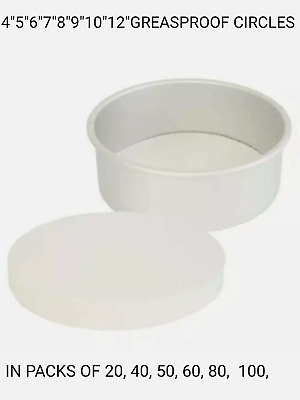 Grease Proof Paper Circles, 5  6  7  8  9  10  12  Inch. Free Uk Postage. • 5.29£