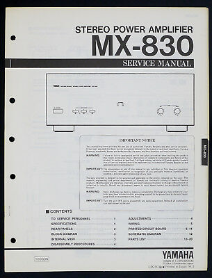 AU45.25 • Buy Yamaha MX-830 Original Stereo Power Amplifier/Amplifier Service Manual O143