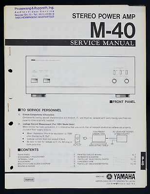 AU41.84 • Buy Yamaha M-40 Original Stereo Power Amplifier/Amplifier Service Manual O143