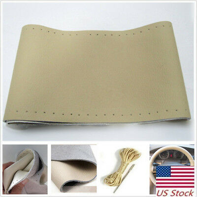 $12.08 • Buy Genuine Leather Auto Car Steering Wheel Cover With Needles And Thread Beige US
