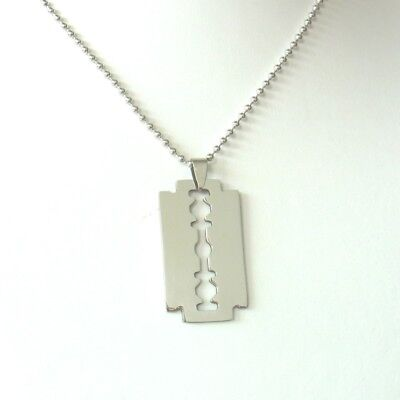 Razor Blade Pendant With Necklace Stainless Steel Punk 70er Years • 10.95£
