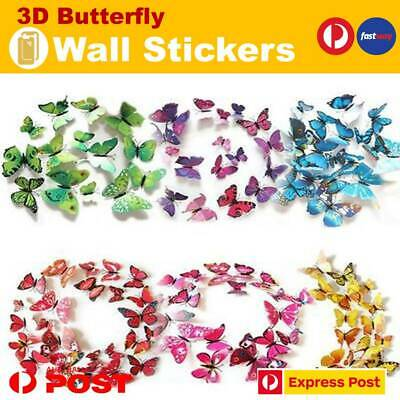 AU7.29 • Buy New 3D Butterfly Wall Decal Removable Sticker Kids Art Nursery Xmas Decoration