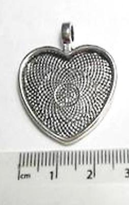 £3.25 • Buy Silver Plated 1  25 Mm Heart Shaped Setting Pendant Bezel Tray For Jewellery
