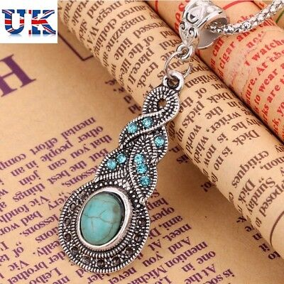 £4.97 • Buy New Tibetan Silver Blue Turquoise Chain Crystal Set Pendant Necklace + Earrings