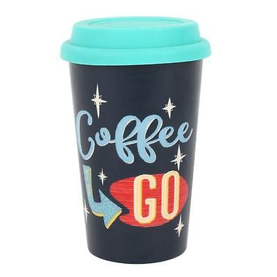 £11.97 • Buy 'Coffee To Go' 50s Style Boxed Thermal Ceramic Travel Mug Rubber Lid 300ml