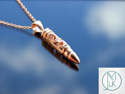 £17.98 • Buy Sterling Silver 925 Bullet Moon Pendant Necklace With Cubic Zirconia Rose Gold