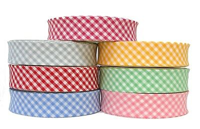 £1.75 • Buy 30mm GINGHAM POLY COTTON 1/4   CHECK BIAS BINDING~CHOICE OF COLOURS AND LENGTHS
