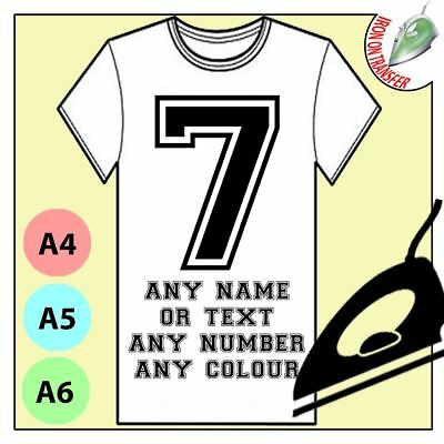 Personalised Name Number Sticker Wall Decal Or Iron On Transfer Design Tshirt • 2.96£