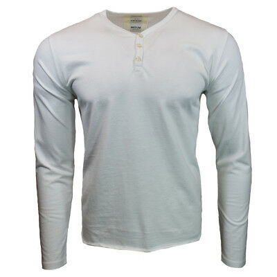 $14.44 • Buy Henley Shirt Mens Long Sleeve Button Thermal Slim Fit Pullover WHITE NEW