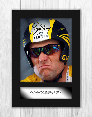Lance Armstrong A4 Signed Mounted Photograph Picture Poster. Choice Of Frame. • 32.95£