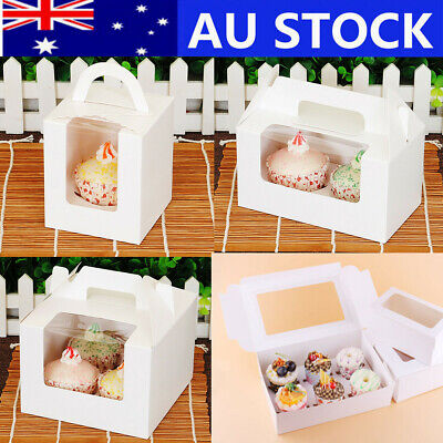 AU20.99 • Buy Cupcake Box Cases 1 Hole 2 Hole 4 Hole 6 Hole 12 Hole Window Face Gift