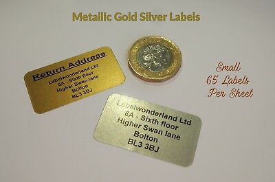 £2.99 • Buy 260 Personalised Printed Sticky Address Labels Gold Metallic Silver Stickers
