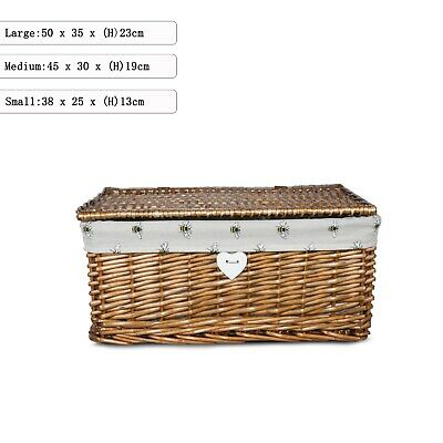 Brown Wicker Willow Storage Basket Hamper Box With Lid And Cloth Lining • 16.99£