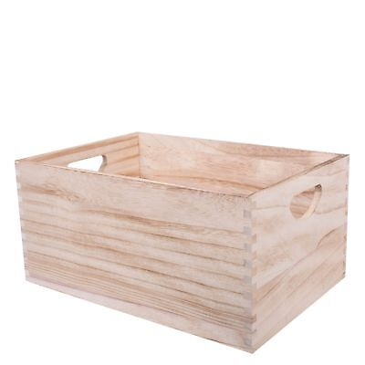 Natural Color Wooden Crates Storage Gift Box With Handles • 11.39£