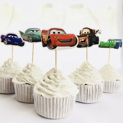 12 X Disney Cars CUPCAKE CAKE TOPPER Party Supplies Pick Food Lightning McQueen • 2.88£