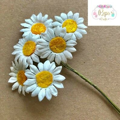 Quality Mulberry Paper Stem Daisies 25mm Card Making Craft Daisy Flower  • 2.45£