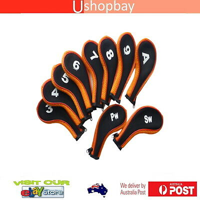 AU21.50 • Buy Golf Iron Club Covers Long Sleeve G/B Zipper X10pcs Protector