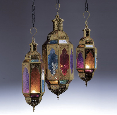 Moroccan Style Star Hanging Glass Lantern Tea Light Holder Coloured Home Garden  • 44.54$