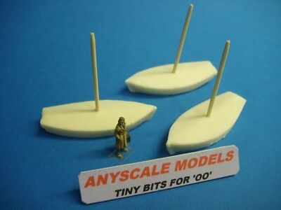 £2.95 • Buy OO Model Railway 1:76 Scale 4mm  3 Small Covered Sail Boats  (082)