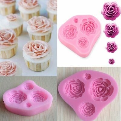 4 Rose Flowers Mould Silicone Cake Decor Icing Sugar Paste Chocolate UK SELLER A • 4.25£