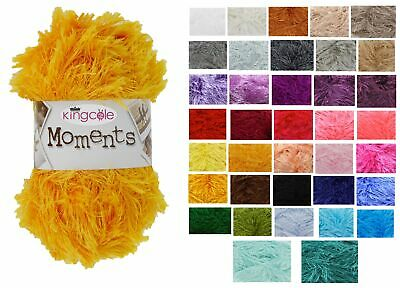 King Cole Moments DK 50g Ball Knitting Wool Yarn Eyelash Fluffy ALL COLOURS • 1.97£