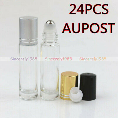 AU19.99 • Buy 12X 300X 5ml 10ml Clear THICK Glass Roll On Bottles Metal Roller Essential Oils