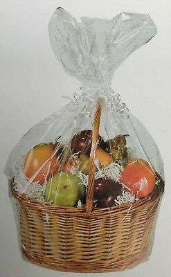 £2.99 • Buy 1 X CLEAR HAMPER BASKET Gift Cake CELLOPHANE DISPLAY BAGS With Tie CHRISTMAS