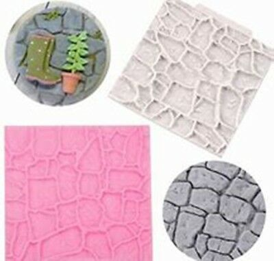 Stone Path Effect Silicone Mould Fairy Garden Road Wall Cake Decor Icing Baking  • 4.75£