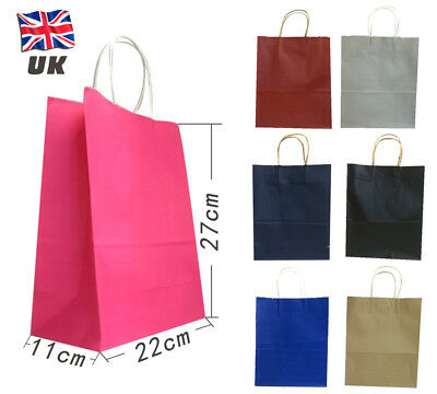 10 Big 27*22*11cm Strong Kraft Paper Party Loot Gift Carrier Bag Twist Handle  • 7.99£