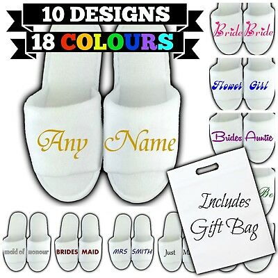 £1.58 • Buy Personalised Spa Slippers Bag Open Toe Any Name Message Gift Wedding Guest Bride