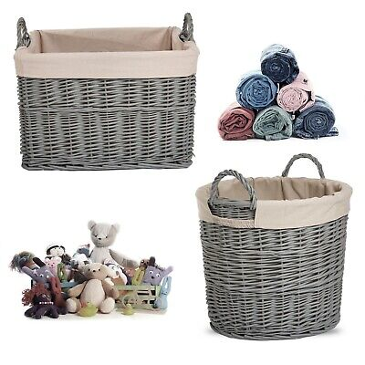 Grey Painted Full Wicker Basket Storage Laundry Toys Baby Nursery Collection Box • 18.99£