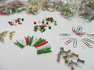 Christmas Decoration Drawing Push Pins Pegs Hooks Paper Clips Cards Tree Crafts • 2.05£