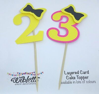 AU10.50 • Buy EMMA WIGGLE THEME BOW PARTY 2 2nd 3 3rd BIRTHDAY CARD CAKE TOPPER. YELLOW PINK