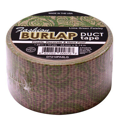 $4.99 • Buy Fashion Burlap Duct Tape Lime Green Paisley Design 1.88 X 10 Yards Per Roll
