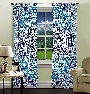 INDIAN MANDALA PRINT Kitchen Window Curtains Curtain & Valance Set Dorm Tapestry • 17.85£