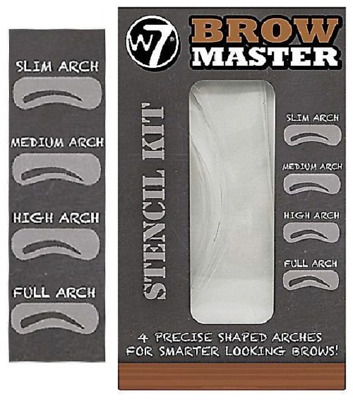 W7 Brow Master Eyebrow Stencil Kit Shaping Defining 4 Precise Shaped Arches • 2.24£
