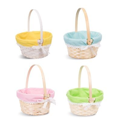 Wicker Basket Bamboo Kid Child Party Flower Craft Easter Egg Gift Basket • 6.64£