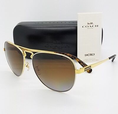 02384a9efb6 New Coach Sunglasses HC7069 9295T5 60mm Gold Brown Polarized Aviator  AUTHENTIC • 88.88