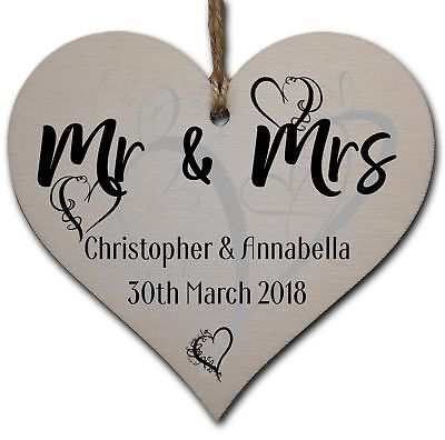 £3.49 • Buy Personalised Handmade Wooden Hanging Heart Plaque Gift To Congratulate The Newly
