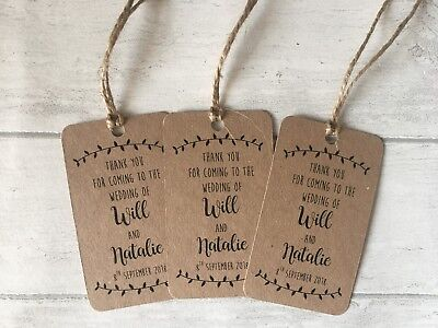 20 Personalised Wedding Favour, Gift, Thank You Tags Inc String, Kraft Card • 3.29£