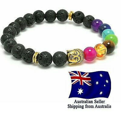 AU7.95 • Buy Chakra Bracelet Lava Stone 7 Bead Natural  Aromatherapy Oil Diffuser Fashion