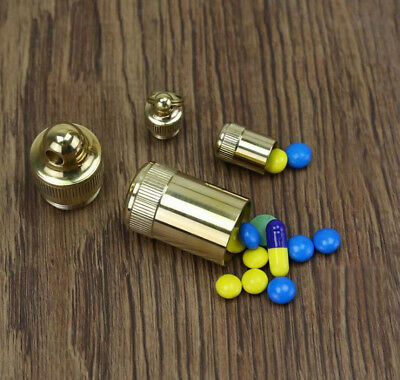 Small Size Brass Pill Storage Case Bottle Holder Keychain Box Capsule Container • 3.96$