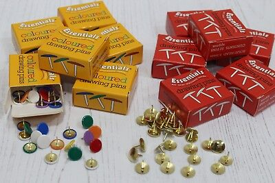 £1.95 • Buy Coloured Or Brassed Head Drawing Pins Box Of 50 Thumb Tacks + Multi Pack Deals