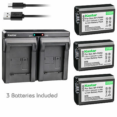 $ CDN32.35 • Buy NP-FW50 Battery & Dual Charger For Sony ILCE-6300 Alpha A6300, NEX-7, NEX-C3